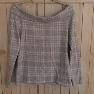 Gray & white plaid off the shoulder top